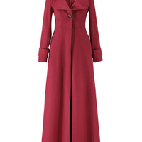 Thick Peter Pan Collared Long Sleeve Single-Breasted Woolen Coat