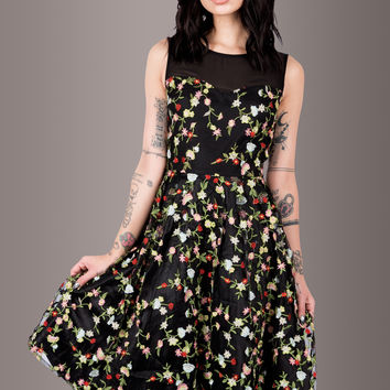 My Mystique Embroidered Roses Mesh Cocktail Dress