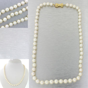 """Mikimoto Designer 18k Solid Yellow Gold 6-6.5mm Pearl Strand 16"""" Necklace 26.6g"""