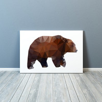 Grizzly bear print Colorful decor Animal poster Modern art TO175-1