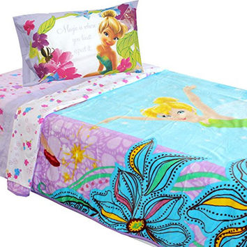 4pc Disney Fairies Twin Bed Blanket and Sheet Set Tinkerbell Magic Butterfly Bedding