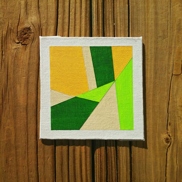 Tiny Geometric OOAK Canvas Painting Modern Minimalist Art Contemporary Wall Art Abstract Acrylic Home Decor