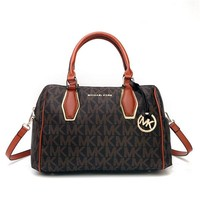 """Michael Kors"" Temperament Fashion Classic MK Letter Logo Print Single Shoulder Messenger Bag Women Boston Pillow Large Handbag"