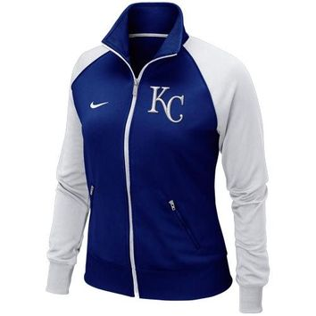 Nike Kansas City Royals Ladies Full Zip Track Jacket - Royal Blue/White