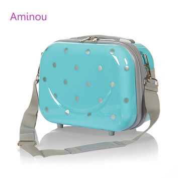 Suitcase For Girl ABS Metal Suitcases And Travel Bags Woman PC Luggage Cute Cosmetic Box Vintage Baggag mala de viagem para