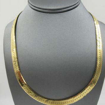 14K Yellow Gold Herringbone Chain Necklace Italy 40 grams 7.3mm
