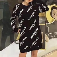 Balenciaga Casual Print Long Sleeve Bodycon Mini Dress