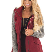Burgundy Military Jacket with Heather Grey Two Tone Contrast