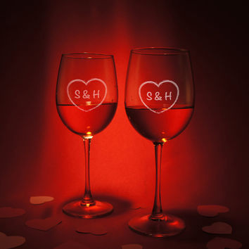 Valentines Day Wine Gift Set with Personalized Monogram, Design Options, and Font Combination (One Pair - Select Type of Wine Glass)