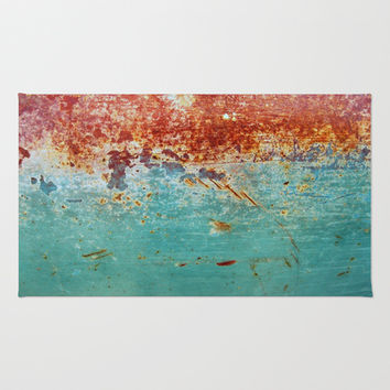 Teal Rust Area & Throw Rug by RichCaspian | Society6