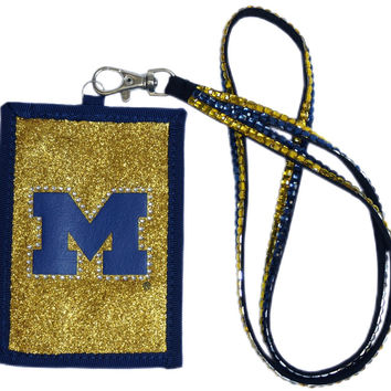 Michigan Wolverines Beaded Lanyard Wallet