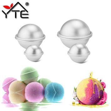 6pcs/pack Bath Bomb Cake Mold 3D Aluminum Alloy Ball Sphere Bath Bomb Mold Cake Baking Pastry Mould 4.5 cm 5.5 cm 6.5cm
