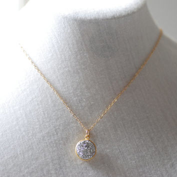 Druzy Necklace, Sparkling crystal druzy drusy stone in gold, dainty druzy drusy necklace, simple everyday jewelry by heirloomenvy