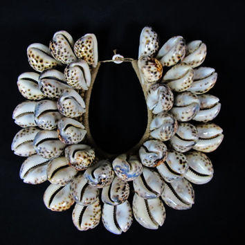 New Guinea Tribal Necklace Of Large Brown Shells On Plaited Rope // Large Brown Spot Shells // Shell Currency // Papua New Guinea