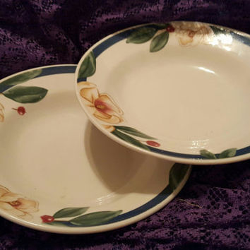 Two Stoneware Coupe Soup Bowls by Citation Savannah Grove in the Grand Flora Pattern