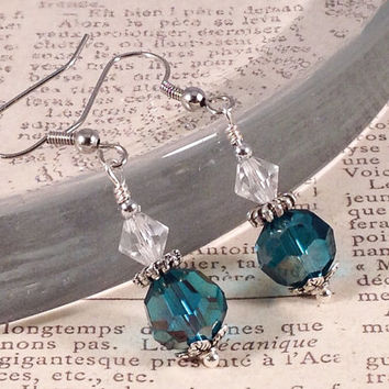 Teal Victorian Inspired Earring, Sea Green Earring, Edwardian Earring, Jane Austen Style, Wedding Earring, Bridesmaid Jewelry, Teal Earring