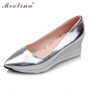 Meotina Shoes Women Platform Wedges Fashion High Heel Shoes Basic Wedge Heels Pointed Toe Lady Shoes Sliver Pink Gold Size 34-39