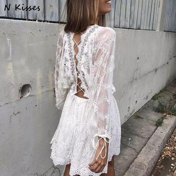 Spring Long Sleeve White Embroidery Lace Mini Dress Backless Cute Mini Lace Short Women Dress