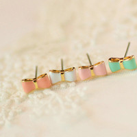 Lovely Candy Color Tiny Bow Stud Earrings