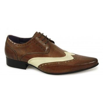 Wakeby Wolf Fancy Brown/White Two Tone Oxford Leather Shoes