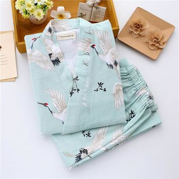 Japanese Kimono Robe & Pants Women Pajamas Sets Cotton Gauze Spa Bath Yukata Japanese Store Work Costume Soft Sleepwear