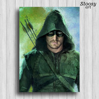 Green Arrow poster superhero print dc comics art justice league