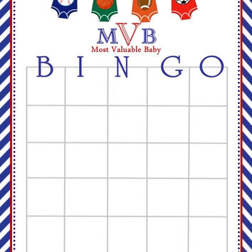 All Star Sport Themed Baby Shower Bingo Cards