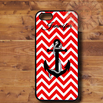 Red Chevron Anchor-iPhone 5, 5s, 5c, 4s, 4, ipod touch 5, Samsung GS3, GS4 case-Silicone Rubber or Plastic Case, Phone cover