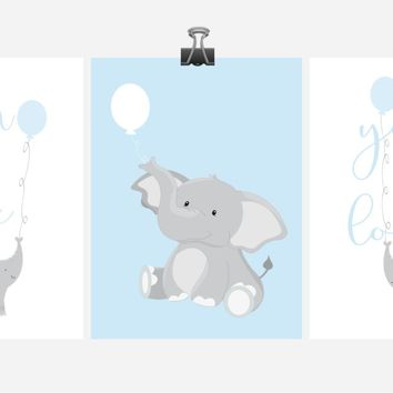 Baby Boy Elephant Nursery Art Decor Set of 3 Prints