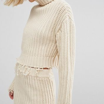 STYLENANDA High Neck Sweater With Distressing Co-Ord at asos.com