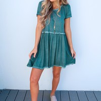 Halfway There Dress: Dusty Teal