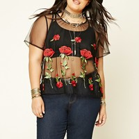 Plus Size Embroidered Mesh Top
