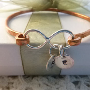 Infinity Sterling Silver and Copper Hand Forged Bracelet, Mixed Metal Sterling and Copper Infinity Charm Bracelet