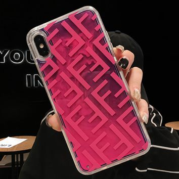Fendi 2019 new iPhone xs max quick sand shell mobile phone case cover Rose red