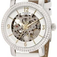Akribos XXIV Women's AKR503WT Skeleton Automatic Strap Watch