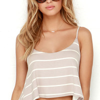 You Sassy Thing You Cream and Taupe Striped Crop Top