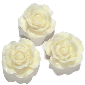 Ivory flower resin cabochon 15mm / 1-5 pieces