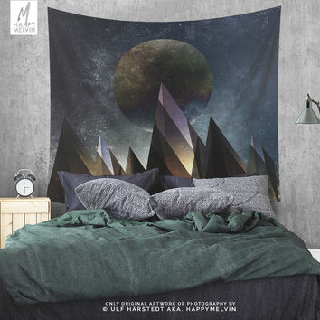 Lunar emotions | Wall Tapestry | Tapestry | Moon Wall Tapestry | Mountain Tapestry | Wanderlust Tapestry | Boho Wall Decor | Spiritual Art