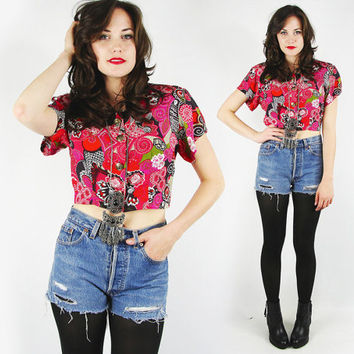 vtg 80s 90s pink red black ABSTRACT ETHNIC paisley floral print strong shoulder CROPPED crop midriff button up shirt blouse top S M