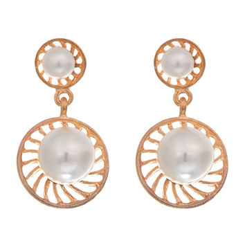 2016 OL Fashion Gold Big Round Flowers Pearl Drop Earrings Ball Beads Pearl Holl
