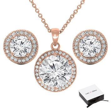 "Mariah 18k Gold Round Cut CZ Halo Pendant Necklace with 18"" Chain Earrings Jewelry Set"
