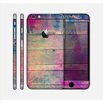 The Pink & Blue Grunge Wood Planks Skin for the Apple iPhone 6 Plus