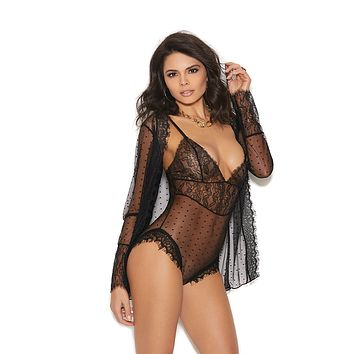 Plus Size Eyelash Lace Jacket And Teddy Set