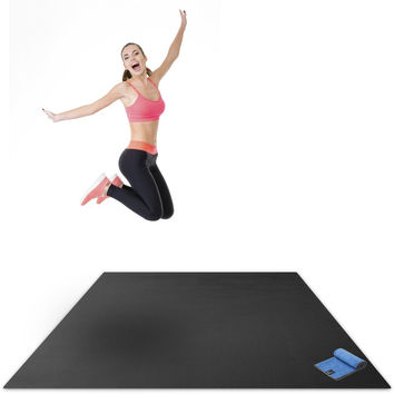 """Premium Extra Large Exercise Mat - 7 x 5' Feet (84"""" Long x 58"""" Wide x 6mm Thick) - Ultra Durable Non-Slip Home Gym Workout Mats - Use With or Without Shoes - Insanity T25 Plyo HIT Yoga Cardio Gorilla Black Mat with Blue Towel"""