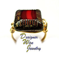 DWJ0288 Czech Glass Garnet Travertine Gold Wire Wrap Ring All Sizes