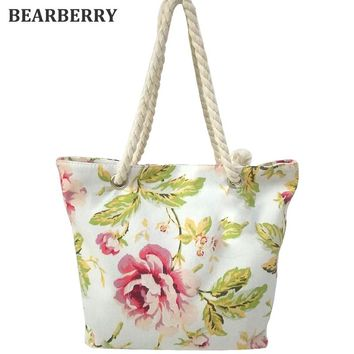 BEARBERRY 2017 high quality women cotton strap shoulder bags star printed canvas beach bags large size travel bags book bags
