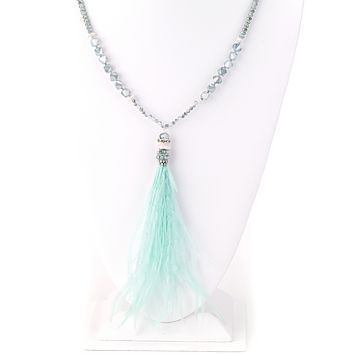 Fluffy Feather Pendant Long Necklace