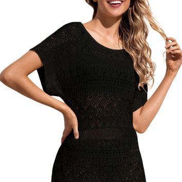 Z| Chicloth Black Hollow Lace Crochet Short Cover Up Dress