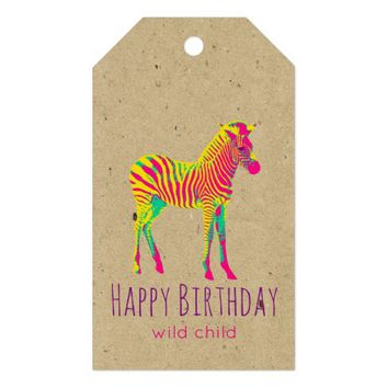 Neon Zebra Baby Animal Psychedelic Funky Retro Gift Tags