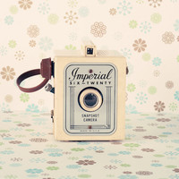 Love Photography Valentine Day  Vintage Imperial Film Camera 8 x 8, Home Decor, Retro, Beige blue, Girly, Nursery, Shabby chic, French